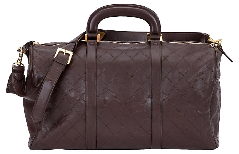 Chanel Brown Diamond Quilted Duffel Bag
