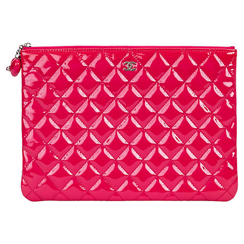 Chanel Hot Pink Patent Leather Clutch