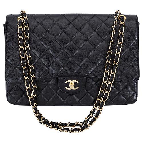 Chanel Black Caviar Maxi Single-Flap Bag