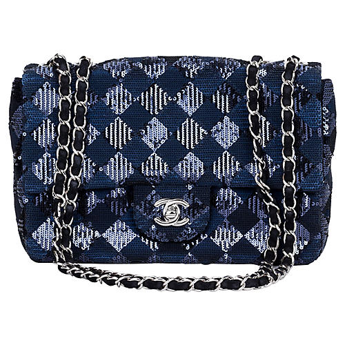 Chanel Navy & Black Sequin Evening Bag