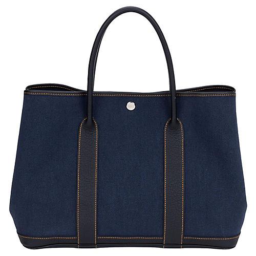 Hermès Large Blue Toile Garden Party Bag