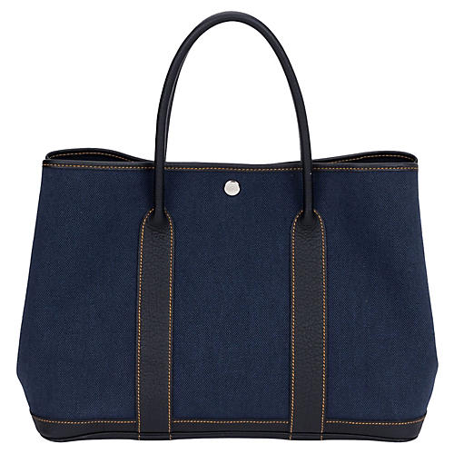 Hermès Large Blue Toile Garden Party Bag