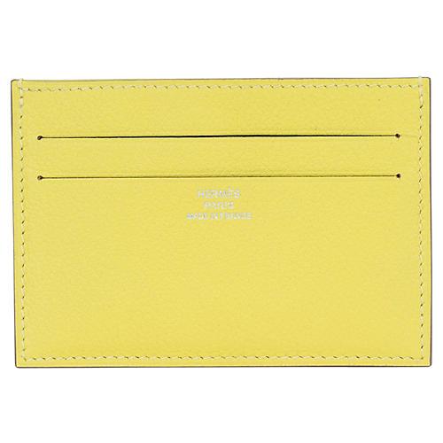 Hermès Lime Yellow Goatskin Card Wallet