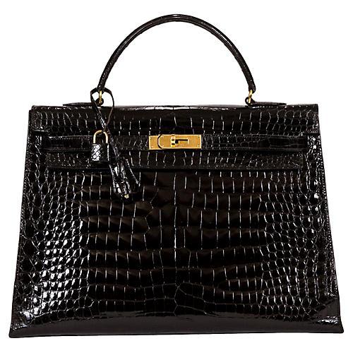Hermès 35cm Black Crocodile Kelly