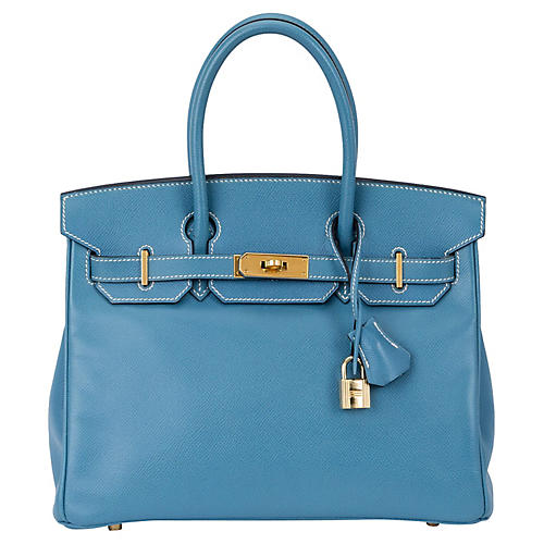 Hermès 30cm Blue Jean Courchevel Birkin