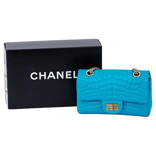 Chanel Turquoise Croc-Embossed Silk Bag