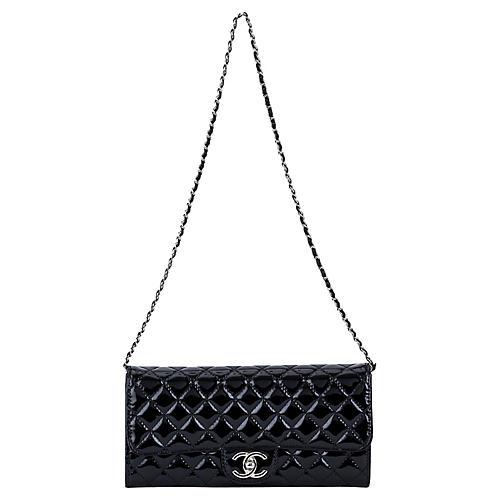 Chanel Black Patent 2-Way Clutch/Bag