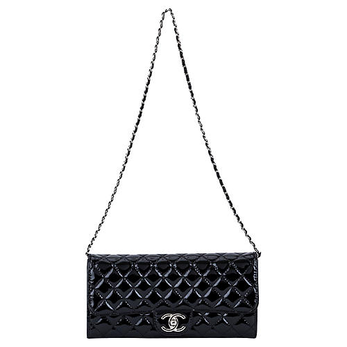 Chanel Black Patent 2-Way Clutch/Bag