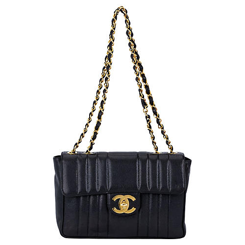 Chanel Black Caviar Vertical Jumbo Flap