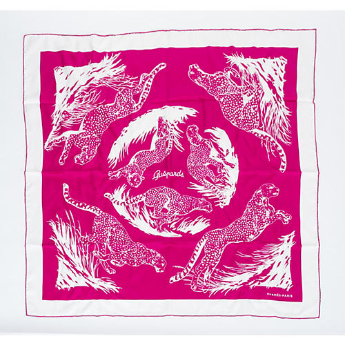 Hermes Pink Guépards Tattoo Scarf