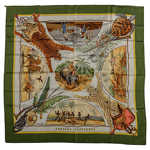 Hermès Green Chasses Exotiques Scarf