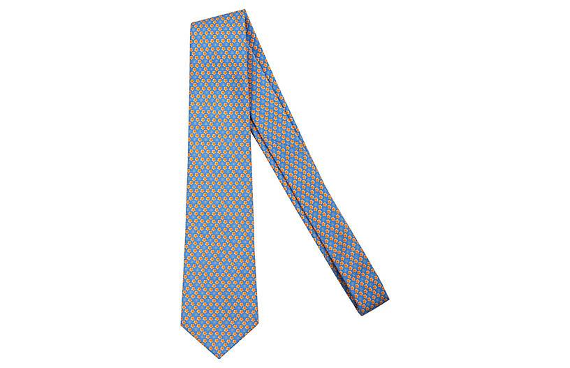 Chanel Blue Floral Print Tie