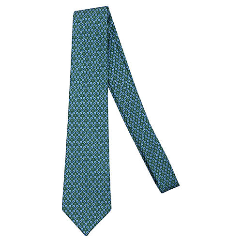 Chanel Green Floral Print Tie