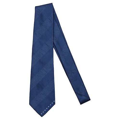 Chanel Blue Striped Silk Tie