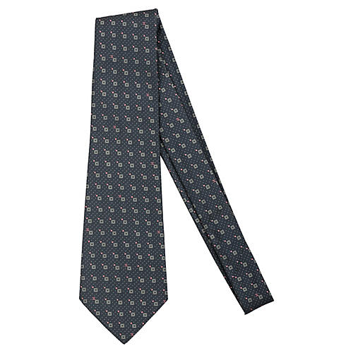 Chanel Gray & Pink Geometric Tie