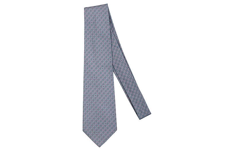 Chanel Blue & Pink Silk Twill Tie