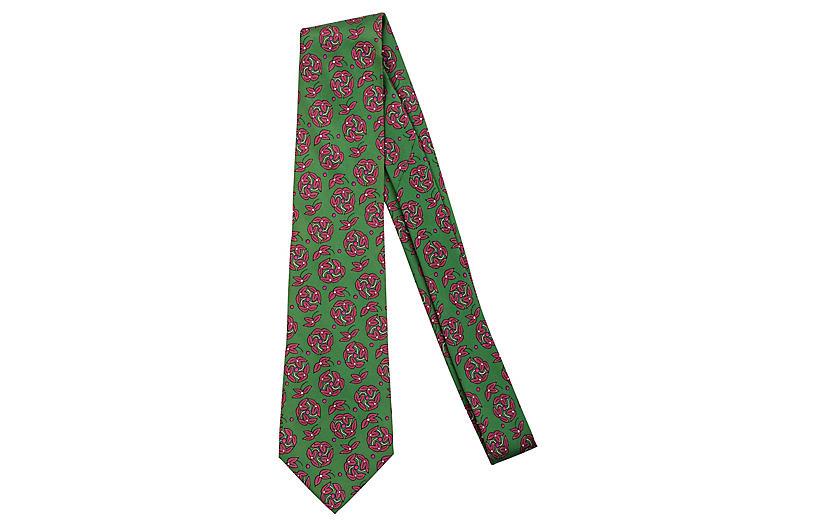 Hermès Green Floral Silk Tie