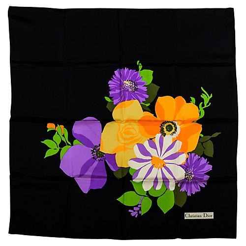 Christian Dior Black Silk Floral Scarf