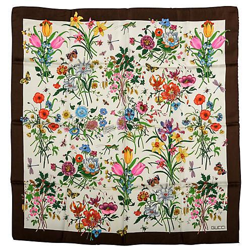 Gucci Silk Twill Floral Scarf