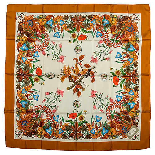Gucci Bronze Floral Print Scarf