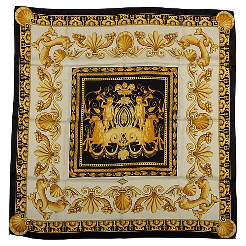Versace Gold & Black Print Scarf