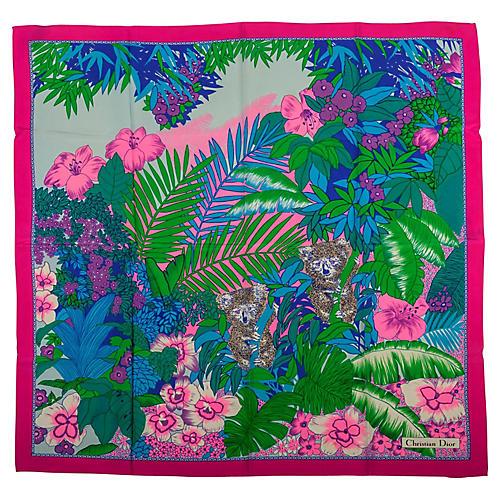 Christian Dior Silk Twill Jungle Scarf
