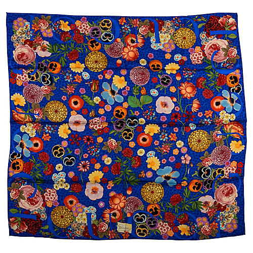 Gucci Blue Floral Silk Twill Scarf