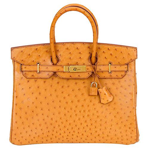 Hermès 35cm Ostrich Sable & Gold Birkin