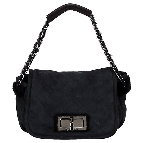 Chanel Black Shearling Shoulder Bag