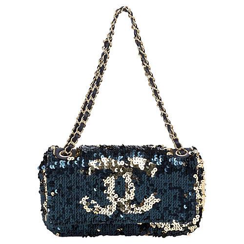 Chanel Black & Gold Sequined Evening Bag