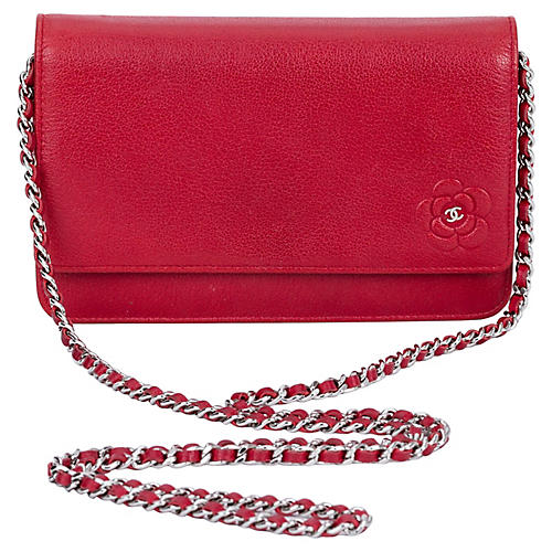 Chanel Red Caviar Camellia Cross-Body