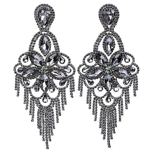 Vrba Rhinestone Fringe Earrings