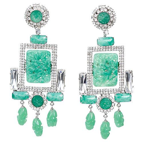 Vrba Faux-Jade & Rhinestone Earrings