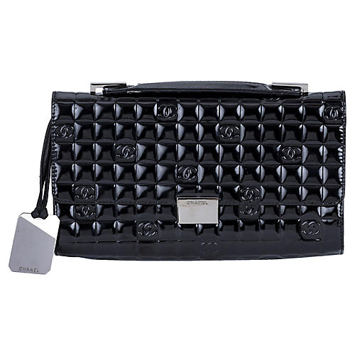 Chanel Black Patent Embossed Evening Bag