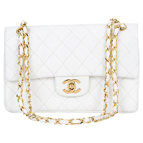 Chanel White Double Flap Bag