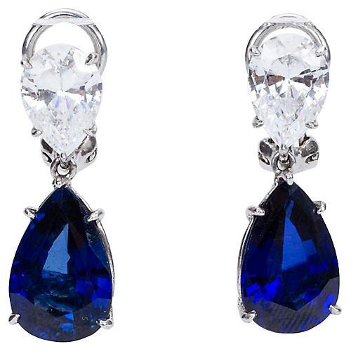 French Sterling & CZ Drop Earrings