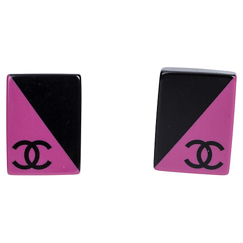 Chanel Pink & Black Earrings