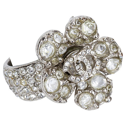 Chanel Rhinestone Flower Ring