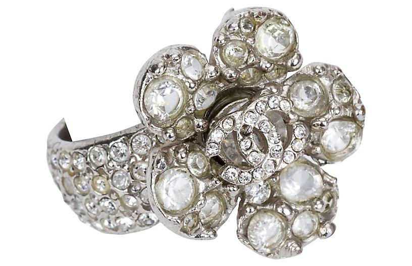 Chanel Rhinestone Flower Ring