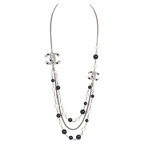 Chanel 3-Strand Black & White Necklace