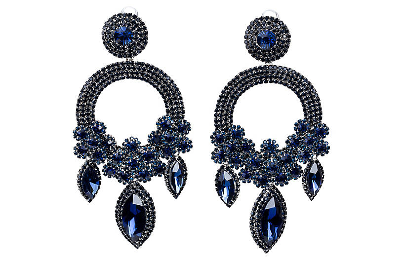 Vrba Blue Rhinestone Drop Earrings