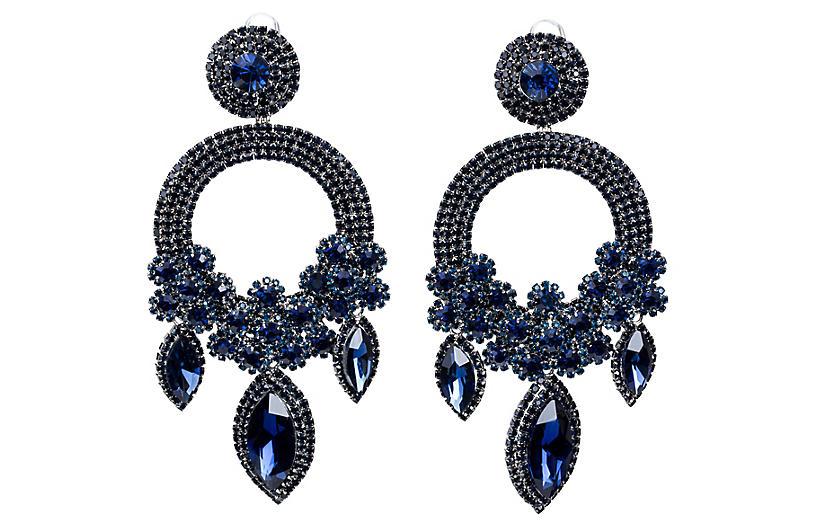 Vrba Blue Rhinestone Drop Earrings