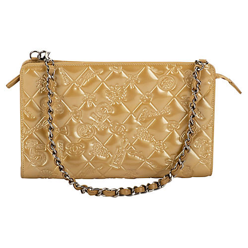 Chanel Gold Patent Embossed Evening Bag