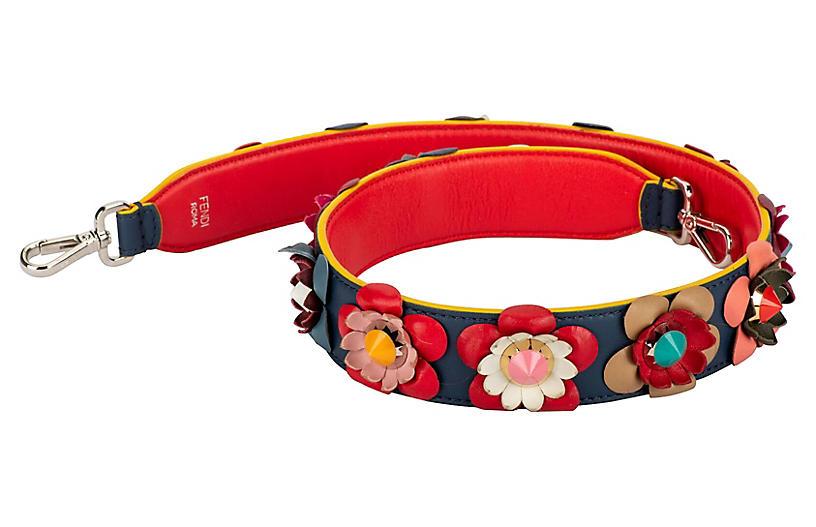 Fendi Blue & Red Multi-Flower Bag Strap