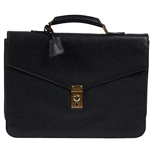 1990s Chanel Black Caviar Briefcase