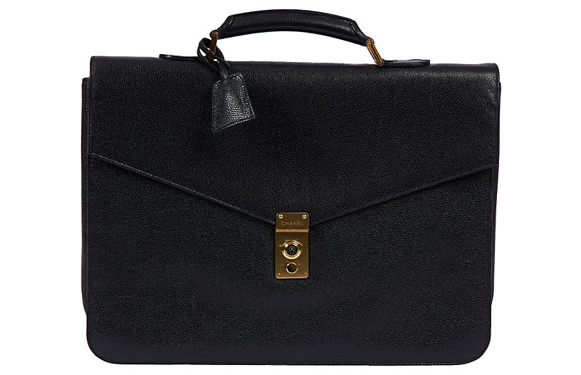 1990s Chanel Black Caviar Briefcase