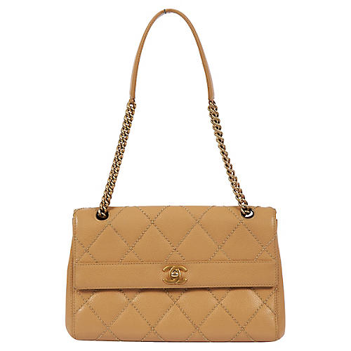 Chanel Beige Quilted Caviar Single Flap