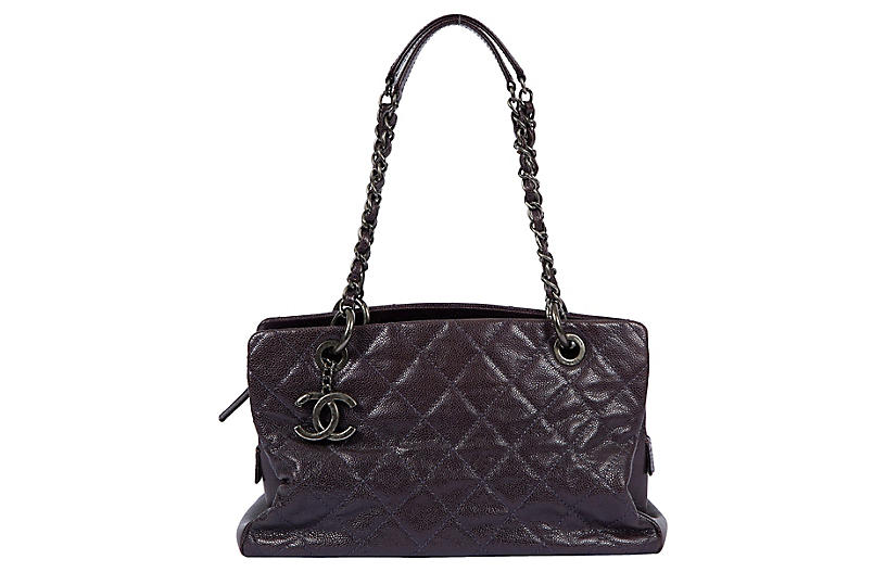 Chanel Purple Quilted Caviar Tote