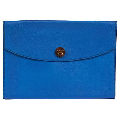 Hermès Royal Blue Leather Pochette