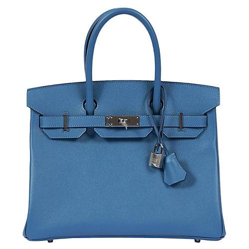 Hermès 30cm Blue Azur/Palladium Birkin